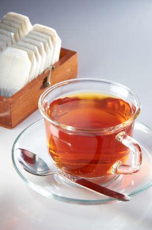english tea: English tea with tea bag on table top setting