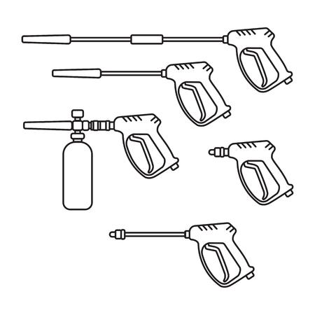 Ensemble d'illustration vectorielle laveuse à pression électrique avec équipement de pistolet de pulvérisation style silhouette design plat