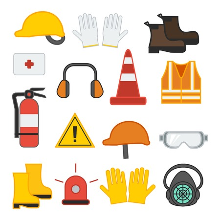 set di attrezzature di sicurezza per l'illustrazione vettoriale per la costruzione e il giubbotto industriale scarpe guanti respiratore casco orecchio fuoco design piatto