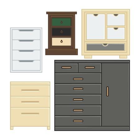 ensemble de tiroirs et d'armoires d'illustration vectorielle pour un style de design plat domestique intérieur