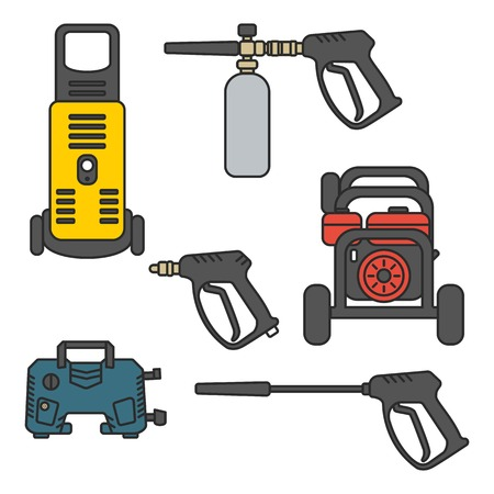 set of vector illustration pressure washer machine electric with spray gun equipment flat design style Stock Vector - 120720901