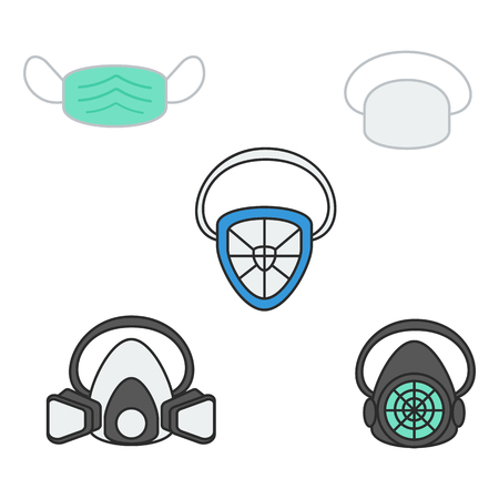 set of vector illustration safety mask and respirator for industrial construction painting flat design style  イラスト・ベクター素材