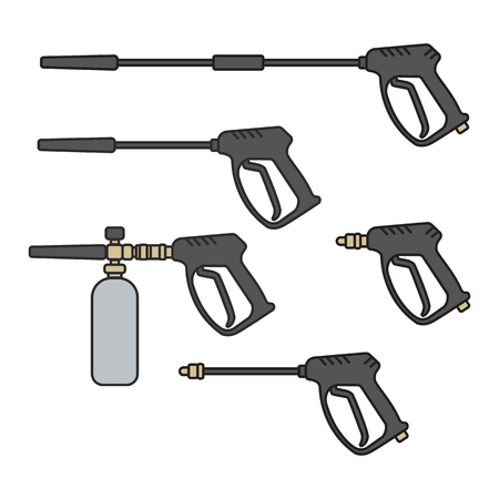 set of vector illustration pressure washer machine electric with spray gun equipment flat design style