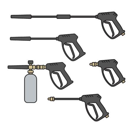 set van vector illustratie hogedrukreiniger machine elektrisch met spuitpistool apparatuur platte ontwerpstijl