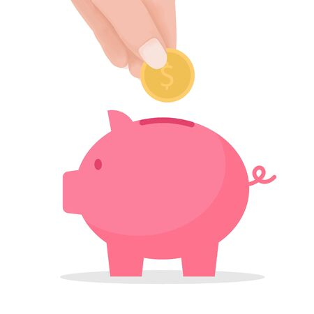 hand put coin to piggy bank. crowd funding and savings concept. Vector flat cartoon illustration for web sites and banners design.