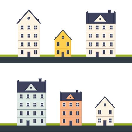 set of city house building. modern building apartment with door and windows exterior. isolated in white background. Vector flat cartoon illustration for web sites and banners design.