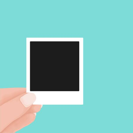 hand holding blank retro paper photo frame. instant photo frame polaroid concept. Vector flat cartoon illustration for web sites and banners design.