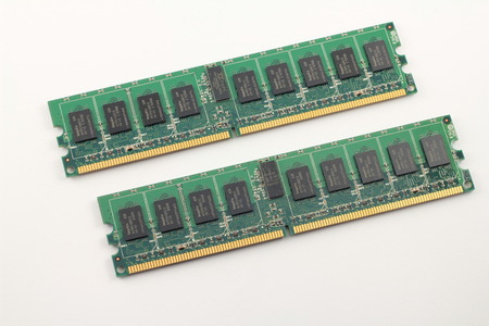 dimm: close up pair of DIMM memory from PC