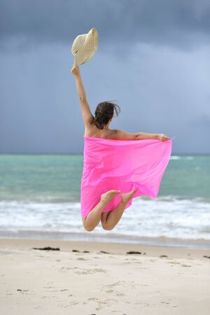 Jump on the beach                     photo