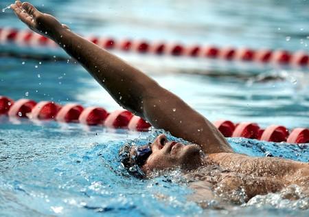 backstroke: Swimmer - sport Stock Photo
