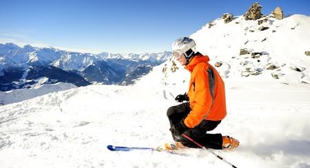 Ski man in the Swiss Alps Stock Photo