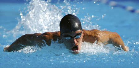 Swimmer swimming during a competition Stock Photo