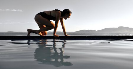 swimming race: Woman ready to run