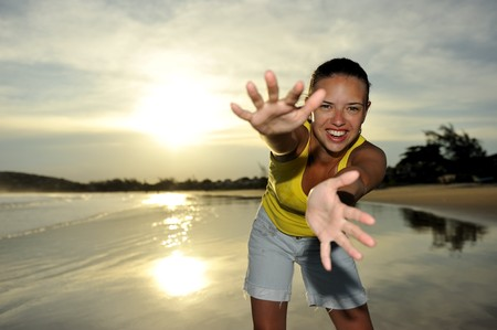 Woman enjoying her holiday on a tropical beach in Brazil  Stock Photo - 4571692