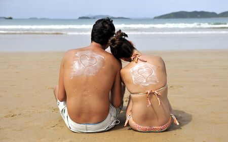 loving couple having fun on the beach  Stock Photo