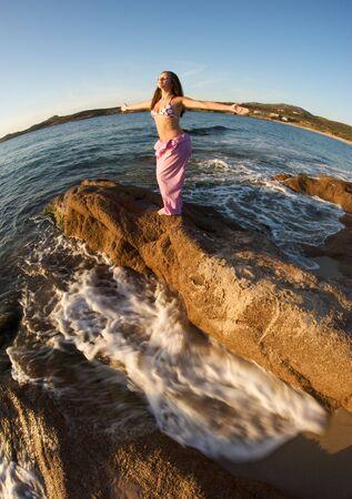 Beautiful young woman doing yoga exercise outdoors Stock Photo - 5426677