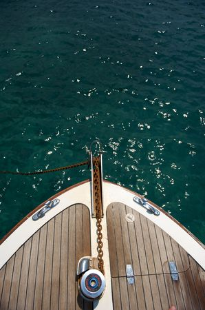 ady: Front view of a sailboat in the ocean Stock Photo