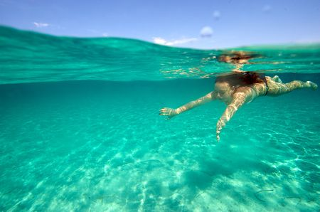 sea sexy: Underwater view of a woman swimming in the ocean