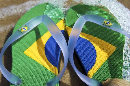 Brazilian Flipflop on the beach in Ilhabela, Sao Paulo state, Brazil, RAW shooting.