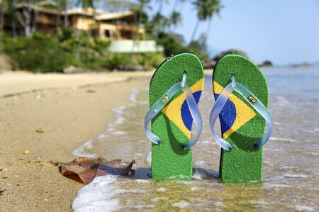 Brazilian Flipflop on the beach in Ilhabela, Sao Paulo state, Brazil, RAW shooting. photo