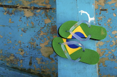 flipflop: Brazilian Flipflop in Ilhabela, Brazil Stock Photo
