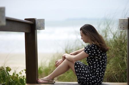 Woman on the beach of Mariscal in Bombinhas, Santa Catarina, Brazil Stock Photo - 11501092