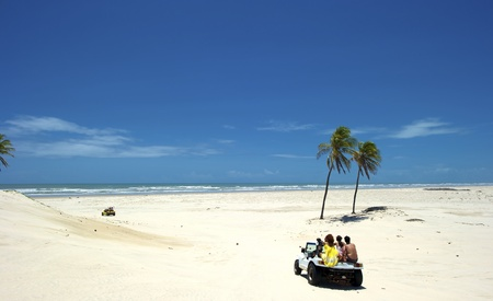 Buggy trip on the sand dunes in Mangue Seco. Mangue Seco is  located in the northern coast of the state of Bahia, very close to the border with the state of Sergipe. Actually, the city lies near the river that marks the border between the two states, the