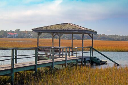 salt marsh: An old dock alongside a coastal creek in South Carolina.