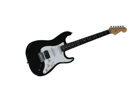 stratocaster: Black Stratocaster style electric guitar isolated on white