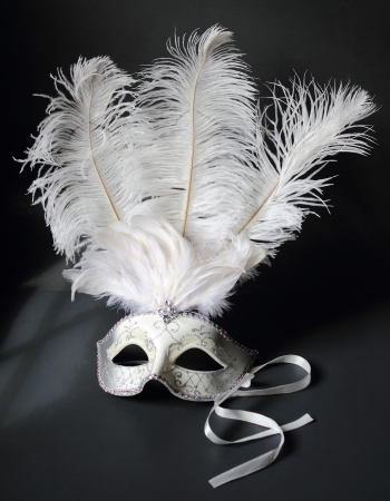 A flamboyant and feathery masquerade ball mask on black with window shadow photo