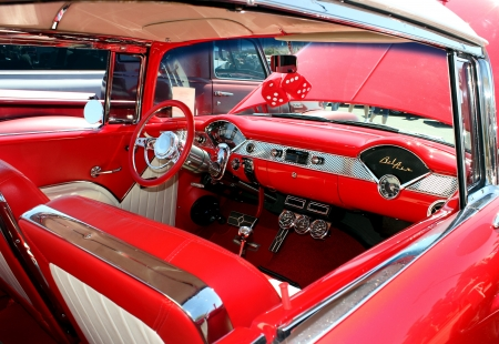 custom car: The interior of a refurbished