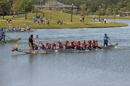 Teams race at the Ground Zero Dragon Boat Races in Myrtle Beach, SC USA on Saturday April 27, 2013.