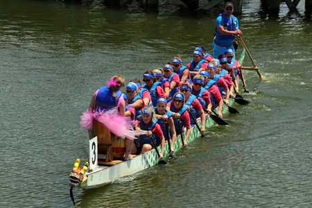 dragonboat: Teams race at the Ground Zero Dragon Boat Races in Myrtle Beach, SC USA on Saturday April 27, 2013.
