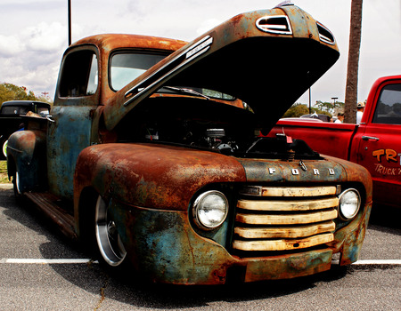 An rusted antique Ford pick up truck at the Run to the Sun Car Show in Myrtle Beach, South Carolina. March, 2014
