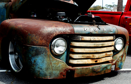 front end: Front end of a rusted antique Ford pick up truck at the Run to the Sun Car Show in Myrtle Beach, South Carolina. March, 2014