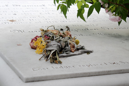 churchyard: A strange bouquet is left upon a churchyard crypt that dates back to 1690 in Charleston, South Carolina, USA Editorial
