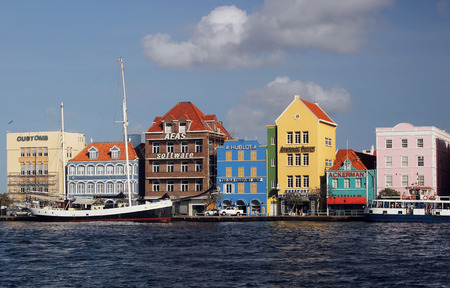 carribean: A view of the colorful waterfront of Willemstad, the capitol of Curacao in the Dutch Carribean.