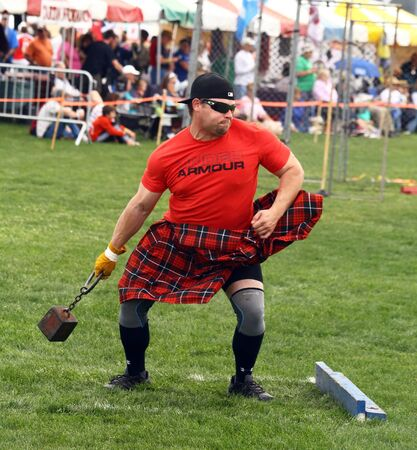 myrtle: A competitor at the Inaugaral Highland Games in Myrtle Beach South Carolina. Photographed March 19, 2016 at the Market Commons of Myrtle Beach.