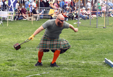 gaelic: A competitor at the Inaugaral Highland Games in Myrtle Beach South Carolina. Photographed March 19, 2016 at the Market Commons of Myrtle Beach.