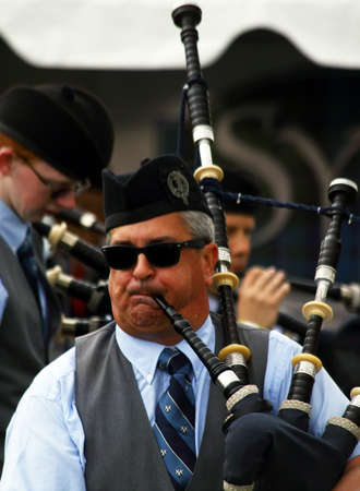 gaelic: A bagpiper plays at the Inaugaral Highland Games in Myrtle Beach South Carolina. Photographed March 19, 2016 at the Market Commons of Myrtle Beach. Editorial