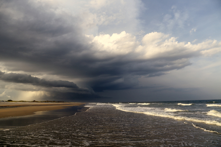 precipitation: A thunderstorm rolls across a South Carolina beach. Stock Photo