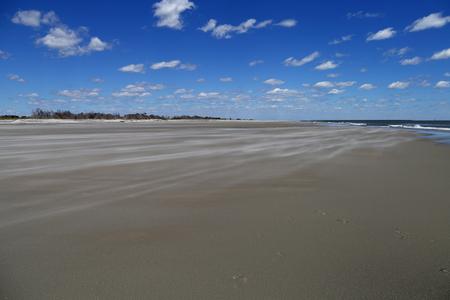 サウスカロライナ海岸沿いの未開発のビーチの静かなストレッチを横切って砂が吹く、