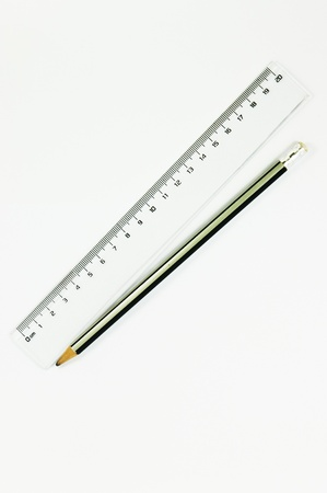 Pencil and ruler isolet Stock Photo