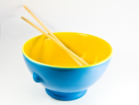 concave: Empty bowl over white background  Stock Photo