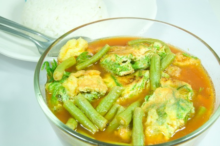 oleifera:  Sour soup made of tamarind paste with scramble egg and vegetable