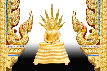 Gold Buddha Traditional Thai style pattern on background  Gold Buddha Traditional Thai style pattern on background  photo