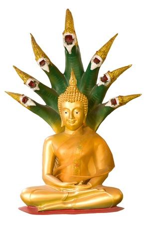 escultura de Buda y la cobra de siete cabezas aisladas en blanco Foto de archivo - 13149652