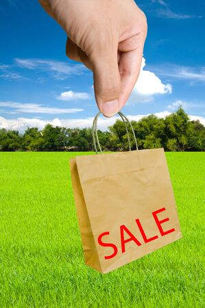 Sale -  hand pick shopping bags with sale written on them  Stock Photo - 13263828