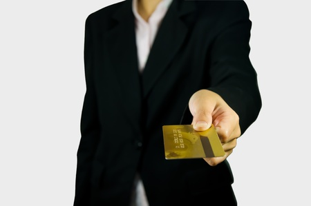 female hand showing credit card  Stock Photo