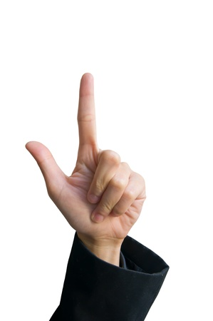 A hand holding up the loser sign or letter L with two fingers isolated over white  Talk to the hand  photo